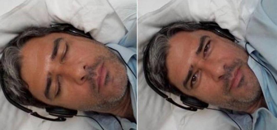 William Bonner postou em seu Twitter fotos em que aparece dormindo e ouvindo música (24/7/11)