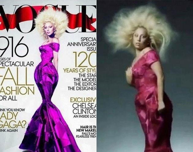 """A """"Vogue"""" abusou do Photoshop para editar as imagens de Lady Gaga. Na foto à direita é possível ver Gaga nos bastidores, bem diferente da versão divulgada na capa da publicação"""