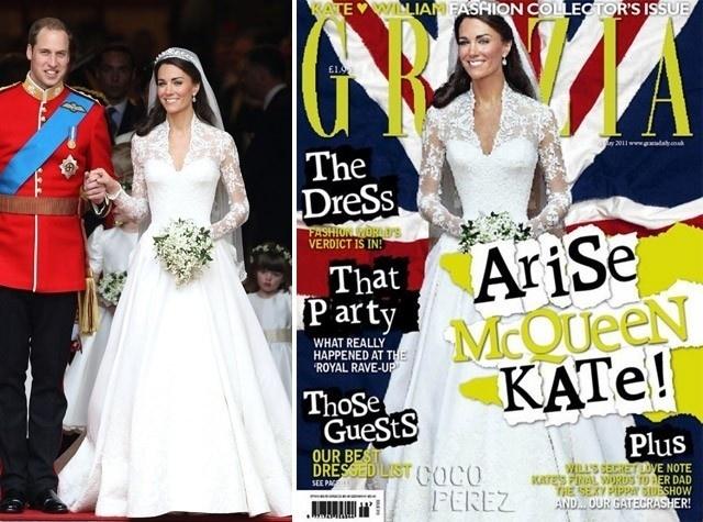 """A revista """"Grazia"""" publicou uma foto de Kate Middleton (à dir) após o casamento real. O problema é que a imagem foi editada de tal forma, que a Duquesa de Cambridge aparece com uma cintura muito mais fina do que o normal, como pode ser visto na imagem à esquerda. Na ocasião, a publicação negou que tivesse editado a foto, mas depois admitiu que havia modificado a imagem"""