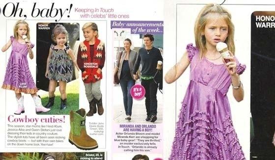 """A filha da modelo Heidi Klum foi usada como exemplo pela revista """"In Touch"""" em uma nota sobre botas cowboy. A publicação só esqueceu do braço da pequena Leni Klum"""