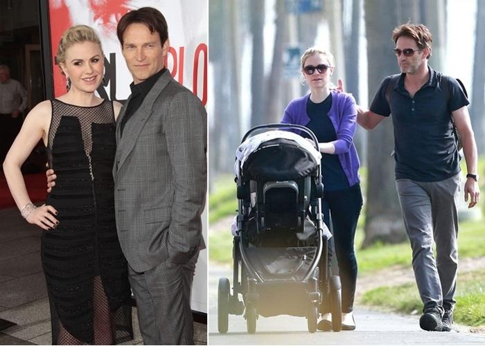 """Ago.2012 - Nasceram os gêmeos dos atores Anna Paquin e Stephen Moyer, da série """"True Blood"""". A data de nascimento e os nomes dos bebês não foram divulgados. Na imagem à direita, o casal curte tarde de passeio com os pequenos no mês de novembro"""