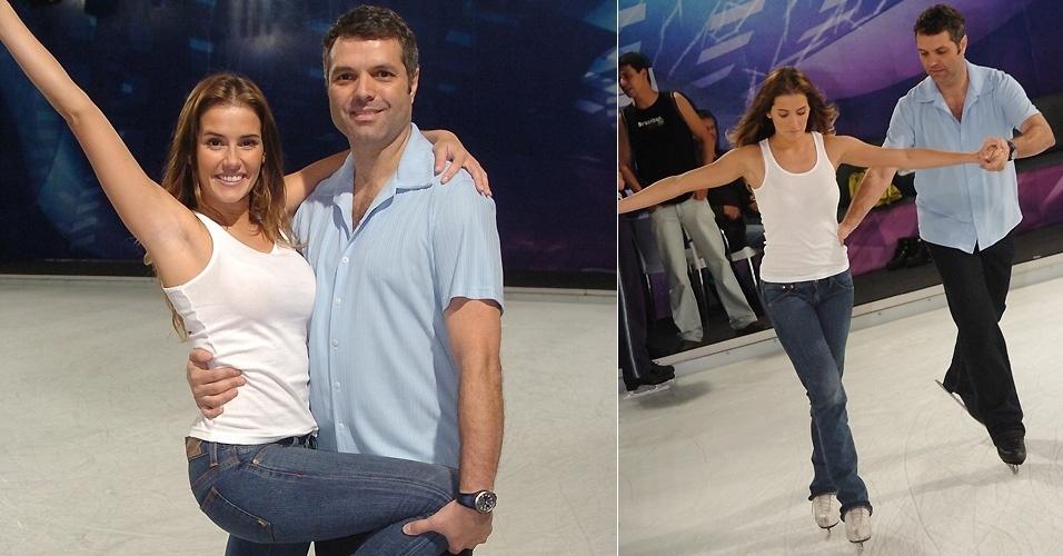 """Deborah Secco participou do quadro """"Dança no Gelo"""" do programa """"Domingão do Faustão"""". Durante a competição ela fraturou duas costelas, mas mesmo assim ficou em terceiro lugar"""