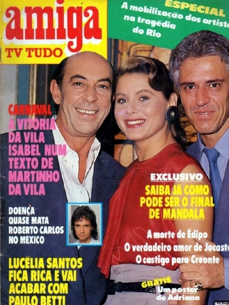 "Raul Cortez (à esquerda), Vera Fischer e Nuno Leal Maia estampam a capa da revista ""Amiga"" (1987)"