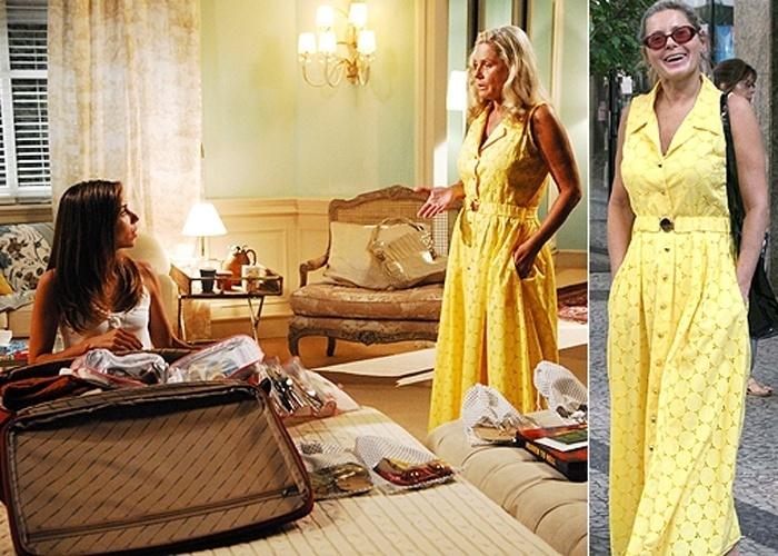 """Vera Fischer aproveita o figurino que usou na novela """"Caminho das Índias"""" (à esquerda, contracenando com Tania Khalill) para passear no Leblon. Na foto da direita, a loira é flagrada em rua do bairro do Leblon, no Rio de Janeiro, usando o mesmo vestido da novela (17/9/09)"""