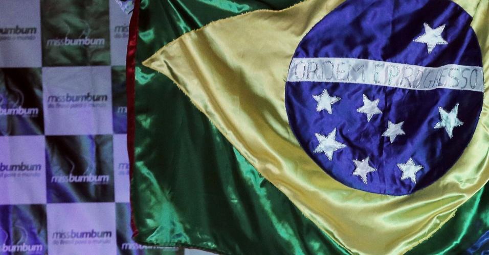 30.nov.2012 - Durante a final do concurso, Carine Felizardo, representante do Pará, desfilou com uma bandeira do Brasil e com a do seu Estado.
