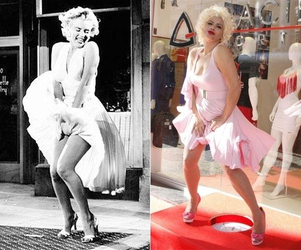 Nov.2012 - A atriz Isadora Ribeiro se vestiu como Marilyn Monroe para a inauguração de uma loja em Copacabana, no Rio de Janeiro. Ela posou usando um vestido rosa e imitando a diva do cinema