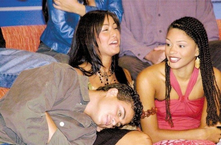 """20.out.2003 - Sabrina, Dhomini e Juliana Alves, logo depois de saírem do """"Big Brother Brasil 3"""", durante evento em São Paulo"""