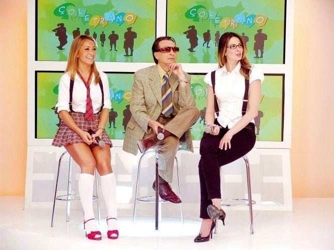 """24.abr.2008 - Sabrina, Ronaldo Ésper e Luciana Gimenez, apresentadora do """"Superpop"""", durante gravação do quadro """"Çoletrano"""", sátira do """"Soletrando"""" feita pelo """"Pânico"""", da RedeTV!"""