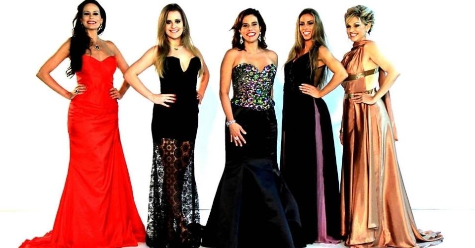 """3.jan.2013 - O elenco da segunda temporada do """"Mulheres Ricas"""", reality show da Band"""