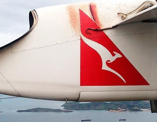 """11.jan.2012 - Os passageiros de um voo da companhia australiana Qantas se assustaram nesta sexta-feira com a """"companhia"""" de uma cobra piton que viajava na asa da aeronave, que seguia de Carins, no norte do país"""