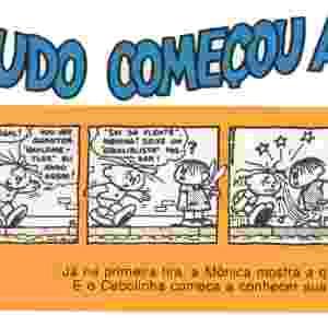 Em sua primeira aparição na tira do Cebolinha, Mônica já mostra seu famoso jeito esquentado - Divulgação/MSP