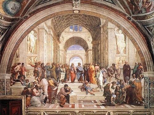 """As salas de Rafael possuem oito afrescos encomendados pelo papa Júlio 2º para decorar seus aposentos. A obra teve início em 1508 e continuou após a morte do pintor, em 1520, sendo finalizada por seus assistentes. São quatro aposentos: o saguão de Constantino e as salas Heliodoro, Segnatura e Incêndio no Borgo. A da Segnatura inclui retratos do papa Júlio 2º e de outros contemporâneos, como Leonardo da Vinci e Michelângelo, e um dos afrescos mais conhecidos de Rafael, """"Escola de Atenas"""" (foto)"""