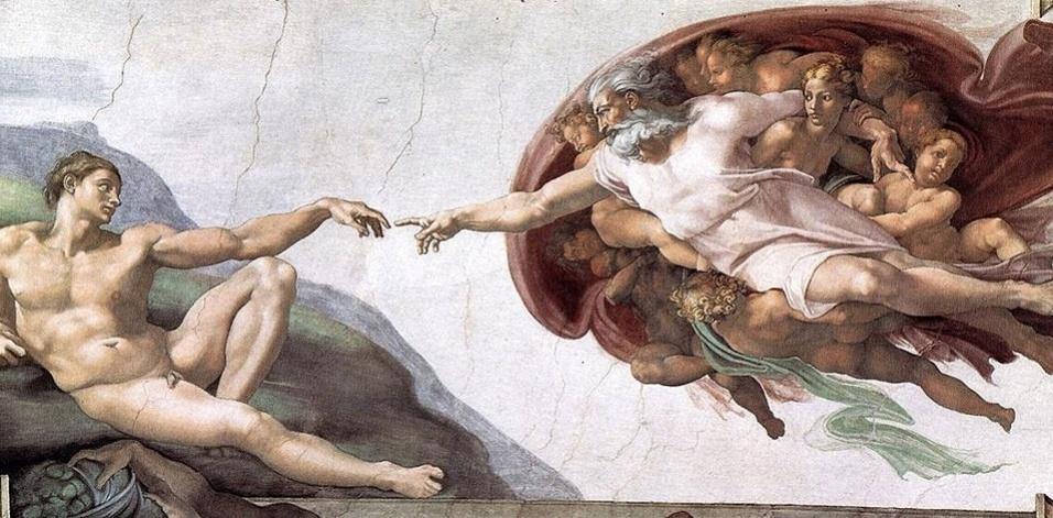 """""""Criação de Adão"""" é o afresco mais conhecido de todos os pintados por Michelangelo no teto da capela Sistina. É uma imagem icônica da história da arte e foi pintada por volta de 1511"""