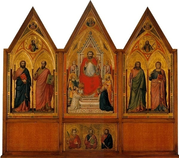 """No Vaticano, uma das preciosidades em termos de pintura é o """"Tríptico Stefaneschi"""", feita por Giotto, considerado o pintor do milênio em pesquisa com críticos de arte da Europa em 2000. A pintura leva este nome por ter sido comissionada para a basílica de São Pedro pelo cardeal Jacob Caetani degli Stefaneschi, que aparece em ambos os lados da obra. Feita por Giotto em 1320, a obra traz imagens icônicas na frente e pinturas narrativas atrás"""