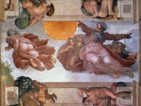 """Um dos painéis de Michelangelo na capela Sistina é """"Criação do Sol e da Lua"""", que mostra a criação do mundo, em que Deus com uma face imperiosa aponta o indicador direito e divide o sol e a lua no céu"""