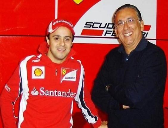 Galvão Bueno e o piloto Felipe Massa visitam os bastidores da Ferrari