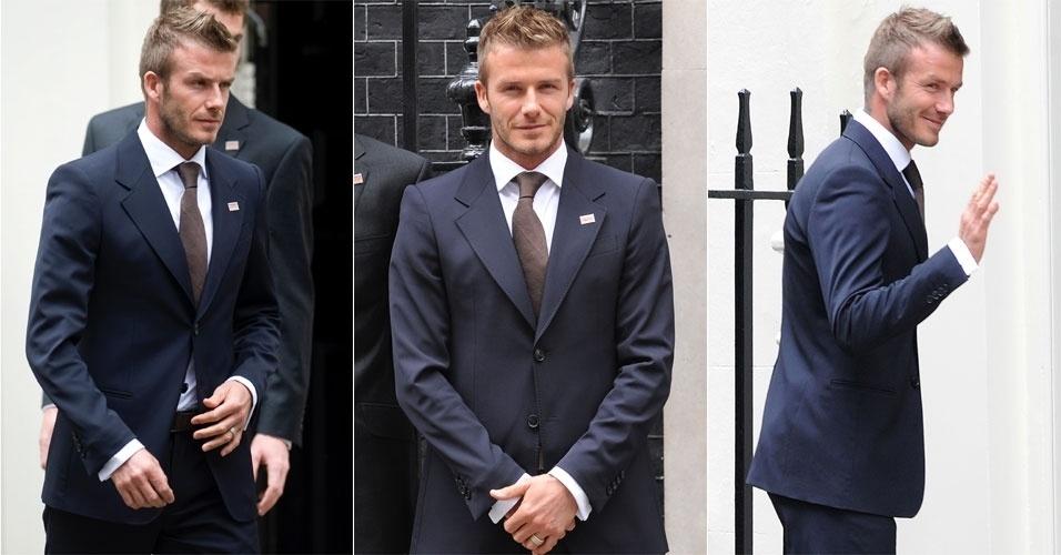 David Beckham coloca um terno bem alinhado e se junta a outros astros do esporte britânico e ao Primeiro Ministro Gordon Brown para lançar uma campanha de combate a malária (20/04/09)