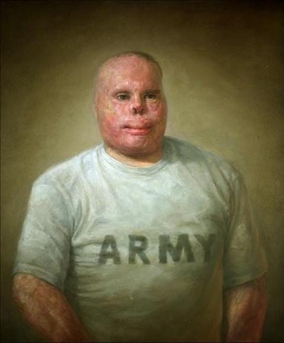 """Pintura de Matthew Mitchell retrata Richard Yarosh, militar desfigurado durante a Guerra do Iraque. Ele recebeu condecorações nos Estados Unidos por sua """"bravura e patriotismo"""""""