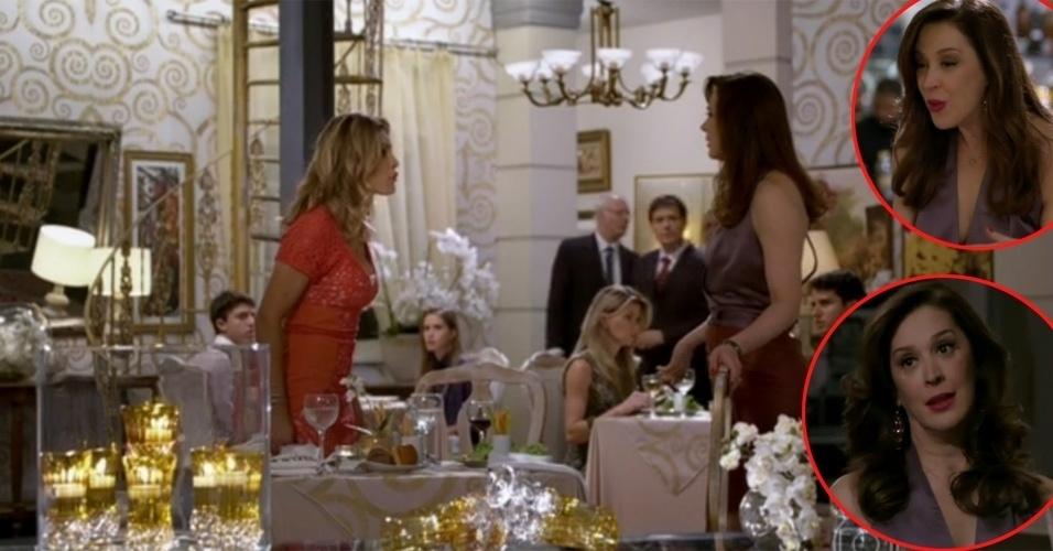 """No capítulo de 15 de abril, Érica (Flávia Alessandra) reagiu à provocação de Lívia (Claudia Raia) - que perguntou: """"Como vai o nosso Théo?"""" - xingando a vilã de """"vadia"""". Na cena do encontro em um restaurante, a traficante aparece com os cabelos mais lisos. Em seguida, de volta ao hotel, a bandida exibiu madeixas mais onduladas, com cachos modelados, visual digno de quem acabou de sair do salão de beleza. Será que a vilã deu uma passadinha no salão no caminho entre o restaurante e o hotel?"""