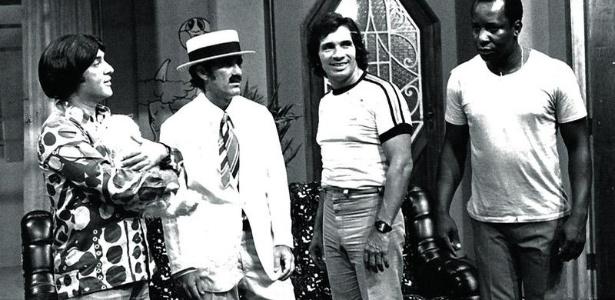 """Zacarias, Didi, Dedé e Mussum na consagrada série """"Os Trapalhões"""", exibida na TV Tupi (1975)"""