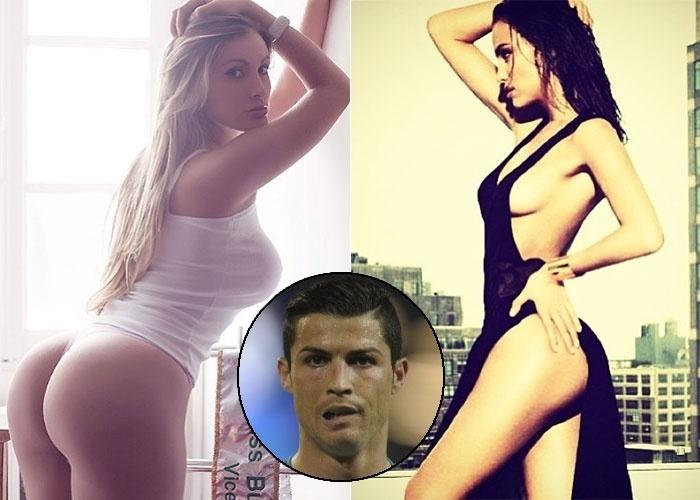 """1.mai.2013 - A polêmica continua! Após Ryan Brown, assessor de Irina Shayk (à dir.), namorada de Cristiano Ronaldo (destaque no centro), ter afirmado que o relacionamento entre a modelo e o jogador não está abalado """"por conta de prostituta que quer aparecer"""", Andressa Urach (à esq.) se revoltou e desabafou no Instagram: """"'Prostituta' sei que não sou, isso posso garantir... Engraçado que ela trabalha tanto e é modelo de 'verdade', como ela afirma, que esquece de ser esposa, namorada, mulher, companheira... """""""