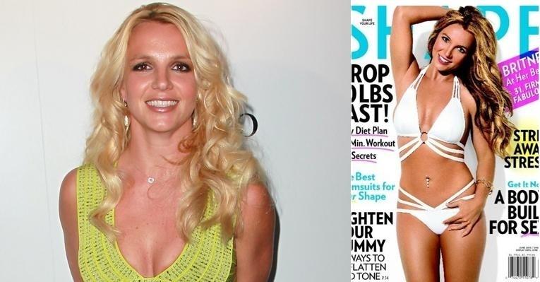 """8.mai.2013 - A cantora norte-americana Britney Spears aparece com o corpo em excelente forma na capa da revista """"Shape"""" do mês de junho. Aos 30 anos, a musa pop, que é uma das celebridades que mais sofrem com o efeito sanfona, mostrou que as celulites flagradas no mês passado por um paparazzo já sumiram de seu corpo. Em relação ao corpão, Britiney declarou que às vezes gosta dele, mas em outras o odeia. """"Estou na faixa dos 30 anos agora, então preciso trabalhar duro para manter ele 'para cima'"""", disse"""