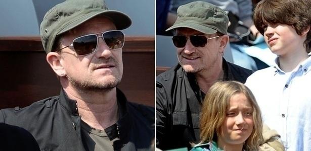17.abr. 2011 - Bono assiste à final do torneio de tênis de Monte Carlo, em Mônaco. À direita, o cantor aparece com os filhos Elijah (à dir..) e John (embaixo)