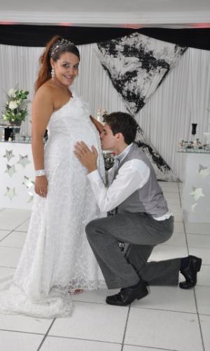 """Laís Guimarães e Fabio Ventura. 25/03/2011, Rio de Janeiro (RJ) """"Eu estava grávida de 8 meses."""" Laís"""