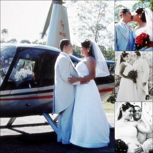 """Patricia Viana Bevenuto e Diego Santos Bevenuto se casaram no dia 24 de junho de 2012, no interior de São Paulo. """"Nosso casamento foi realizado do jeitinho que a gente sempre sonhou"""", revela o casal, que chegou de helicóptero à festa."""