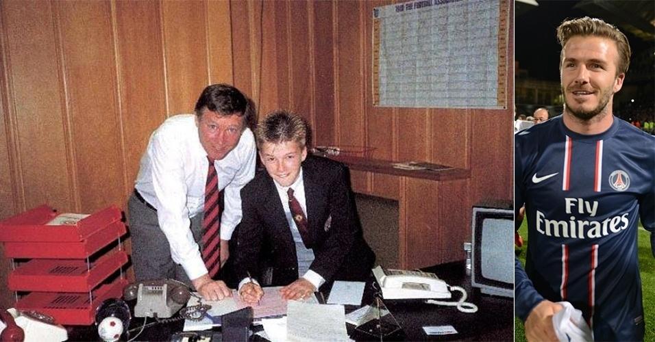 """17.mai.13 - Um dia depois de anunciar sua aposentadoria oficial no final da temporada, o meia David Beckham postou em sua conta no Facebook uma foto do dia em que sua história no futebol começou 'oficialmente'. Na imagem, o jogador aparece ao lado do ex-técnico do Manchester United, Alex Ferguson, assinando o que parece ser o seu primeiro contrato com o clube. """"Acabei de achar isso, parece que foi há muito tempo! Estava incrivelmente orgulhoso naquele dia"""", escreveu o craque na legenda da imagem"""