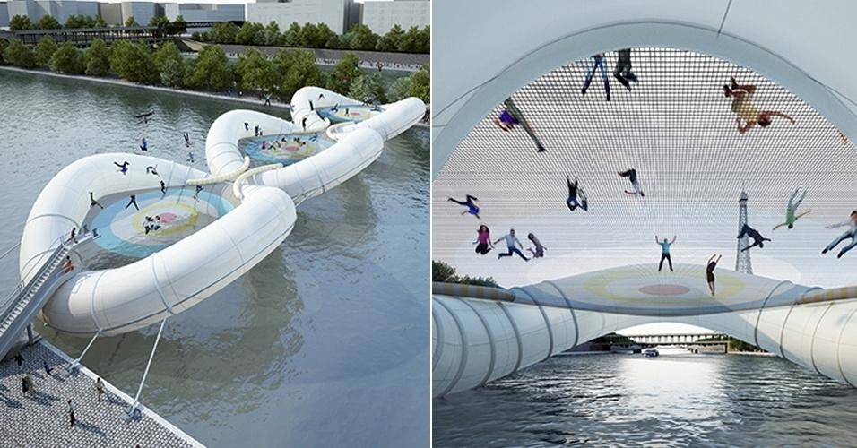 17.mai.2013 - O rio Sena, em Paris (França), poderá ter uma ponte inflável. O projeto arquitetônico inusitado surgiu em um concurso de arquitetura, e um ateliê francês criou a divertida passagem