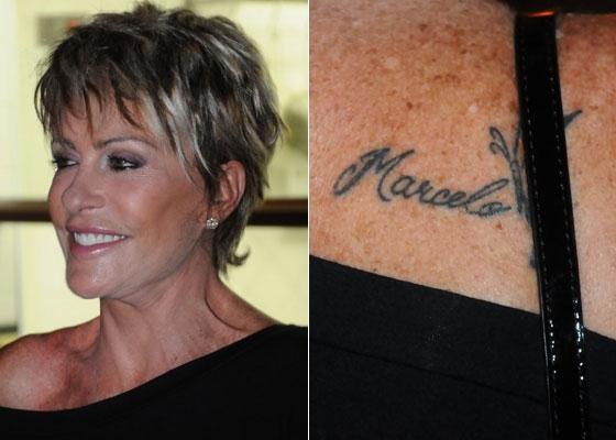 A apresentadora Ana Maria Braga tatuou no ombro direito o nome do marido, o empresário Marcelo Frisoni