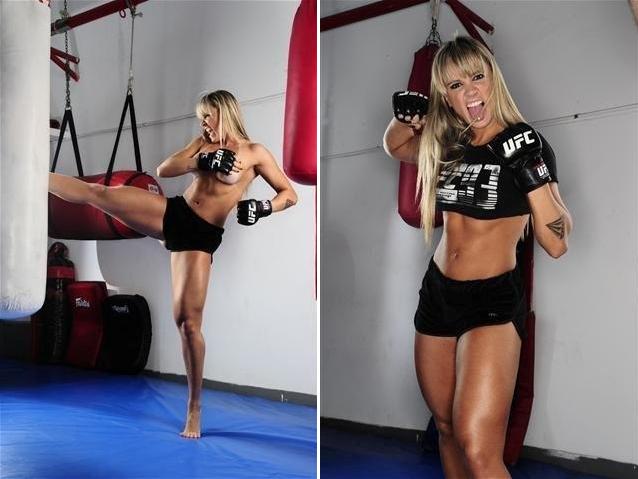 Juju Salimeni teve reveladas imagens de seu ensaio para a revista do UFC. Na publicação, que já está nas bancas, a modelo aparece em poses de lutadora e fez até imagens seminua, mas cobrindo suas