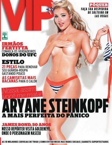 Segunda-feira (23/1) - A panicat Aryane Steinkopf posa de topless para a capa da revista 'VIP' de fevereiro. Veja fotos do treino que beldade faz para manter a forma.