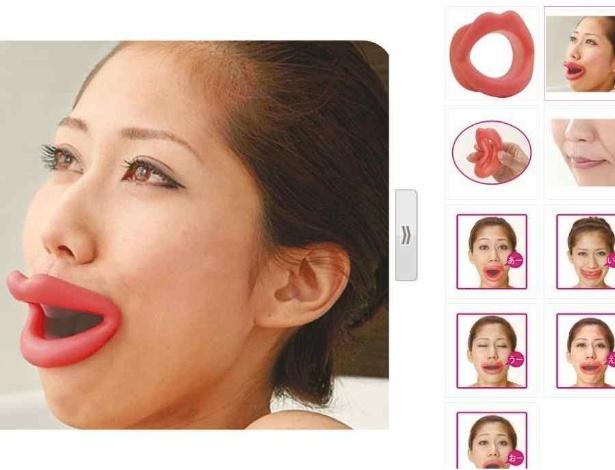 Quinta-feira (2/1) - Os japoneses inventaram uma bizarrice assustadora. A moda agora é usar um objeto estranhíssimo na boca. O Face Slimmer é uma espécie de lábios falsos de borracha que pode ser usado para tonificar os músculos do rosto. Com isso, ele previne a aparição de rugas e sinais da idade.