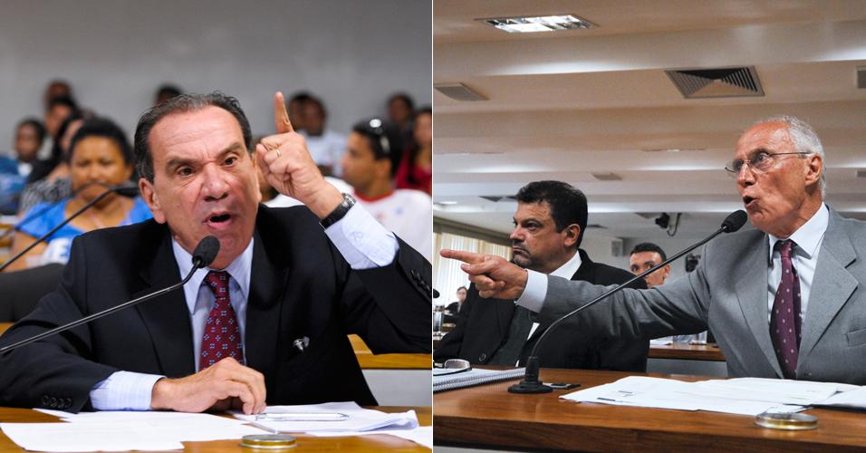Quinta-feira (23/2) - Durante a audiência pública sobre a reintegração de posse da comunidade Pinheirinho, realizada pela Comissão de Direitos Humanos e Legislação Participativa (CDH), os senadores Aloysio Nunes Ferreira (PSDB-SP) e Eduardo Suplicy (PT-SP) discutiram. O tom subiu quando, ainda antes do início da audiência, o senador tucano acusou Suplicy de transformar o episódio em uma disputa política contra governo paulista, liderado pelo tucano Geraldo Alckmin