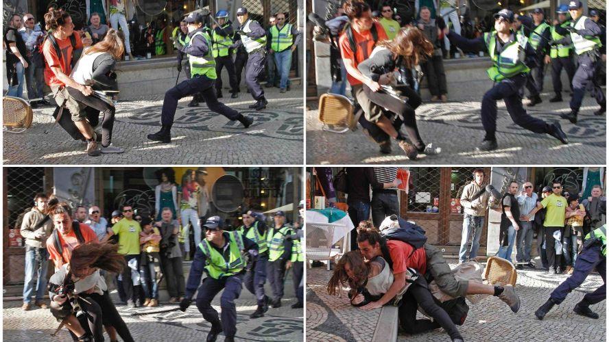 Sexta-feira (23/3) - Montagem fotográfica mostra agressão policial contra fotógrafa da agência AFP Patrícia Melo durante greve geral em Portugal. A PSP (Polícia de Segurança Pública) do país abriu processo disciplinar contra o agente